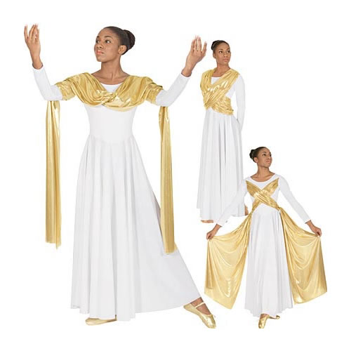 14124 Dance Dress w/attached Metallic Drape/Sash Overlay